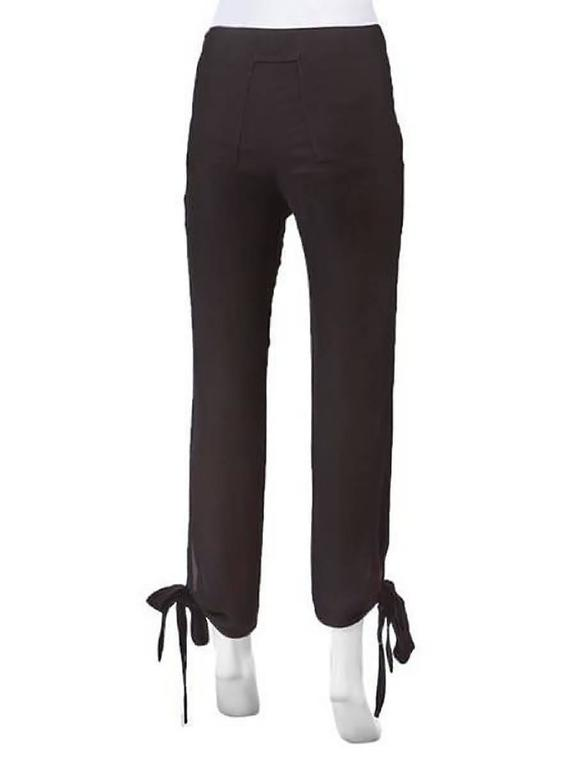 1990's Jean Paul Gaultier Black Woven Ankle Tie Pants In New Condition For Sale In Laguna Beach, CA