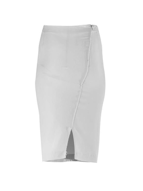 20th Century NWT Maison Martin Margiela Line 1 white silk simple pencil skirt with an asymmetric back seam and zipper and slightly frayed fabric edges in back leading to a small slit.