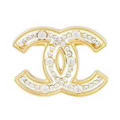 Chanel CC Logo Crystal Brooch