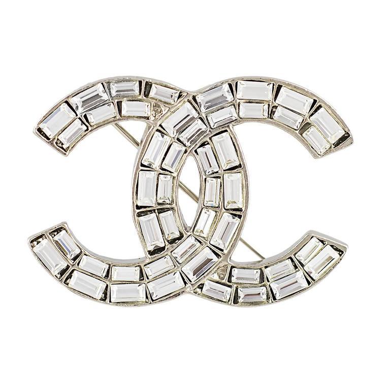 Chanel Crystal CC Logo Brooch 1