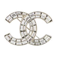 Chanel Crystal CC Logo Brooch