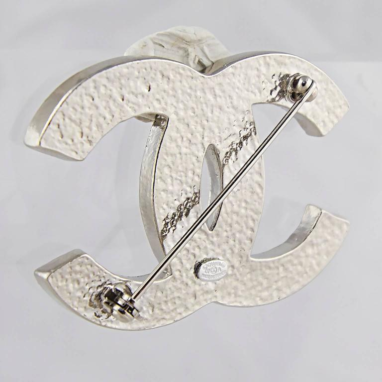 Chanel Crystal CC Logo Brooch 4