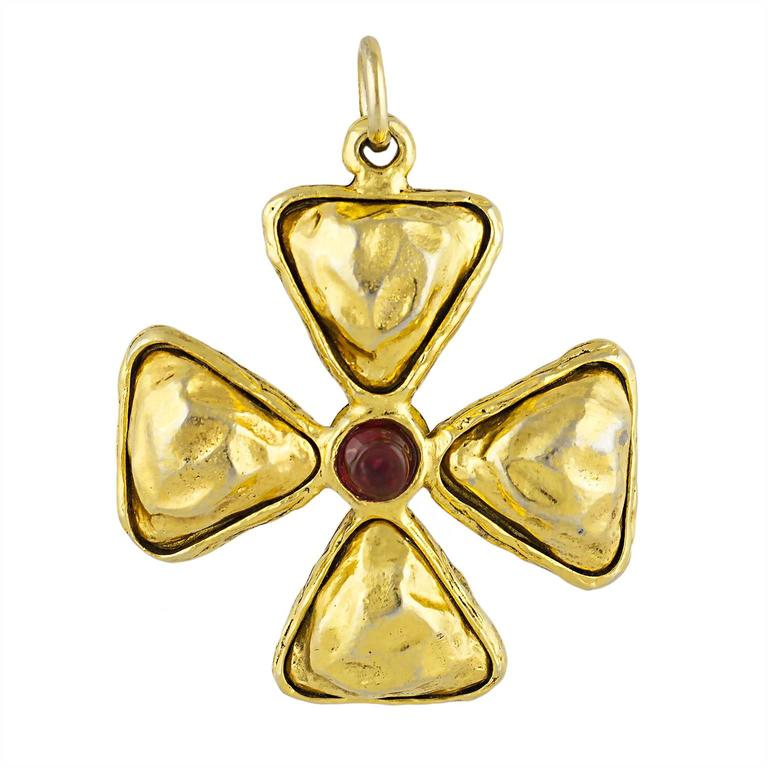 Chanel Gripoix Maltese Cross Pendant 1