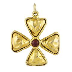 Chanel Gripoix Maltese Cross Pendant