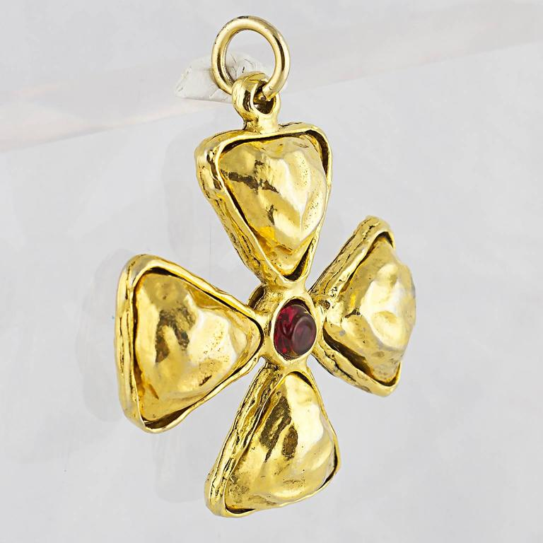 Chanel Gripoix Maltese Cross Pendant 2
