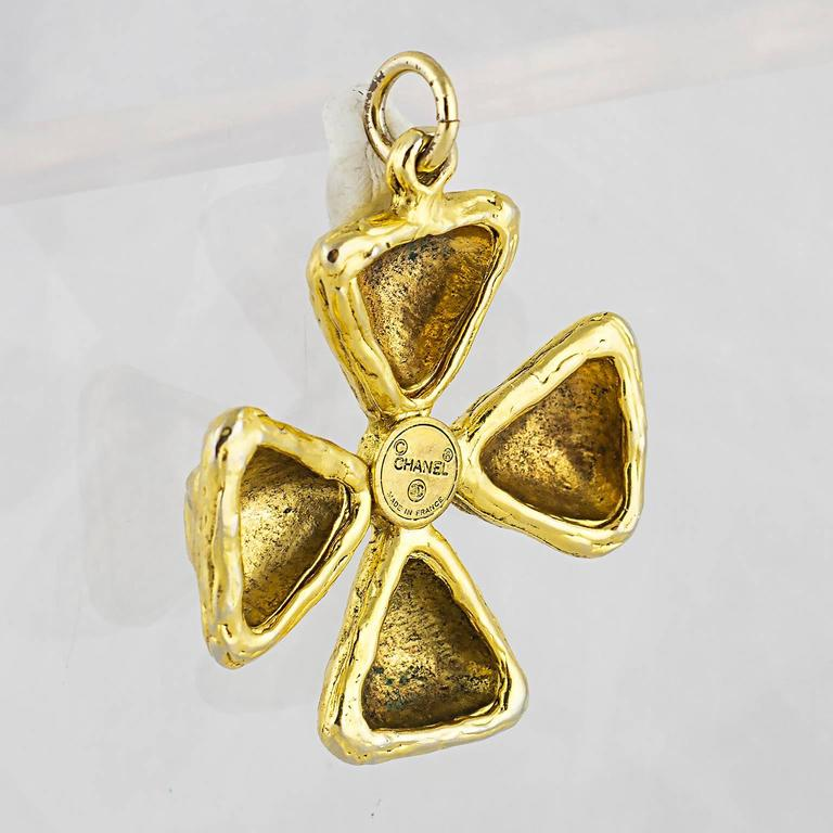 Chanel Gripoix Maltese Cross Pendant 3