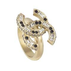 Chanel CC Logo Diamante Cocktail Ring