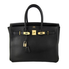 Hermes Black Ardennes Birkin 35 with Gold Hardware