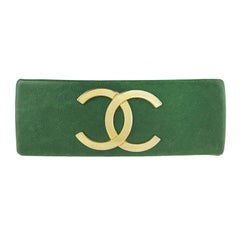 Chanel Green Leather CC Barrette