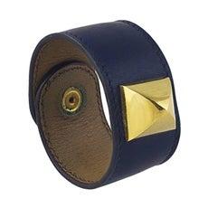 Vintage Hermes Navy Box Calf Medor Bracelet