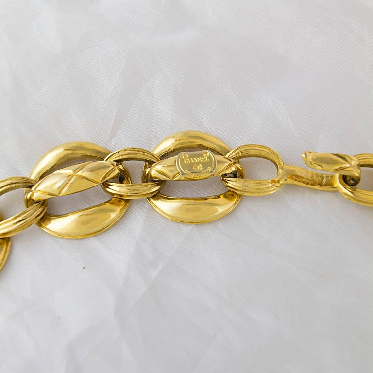 Chanel Quilted Gold Plated Chain Belt 1980's  2