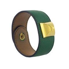 Vintage Hermes Green Togo Medor Bracelet