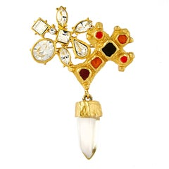 Christian Lacroix Abstract Crystal Brooch
