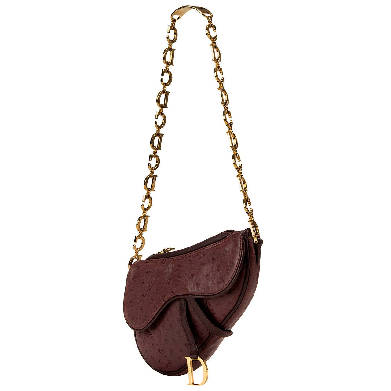 WOW ! Christian Dior Aubergine 'Saddle' Bag in Ostrich with Gold Logo Hardware 8