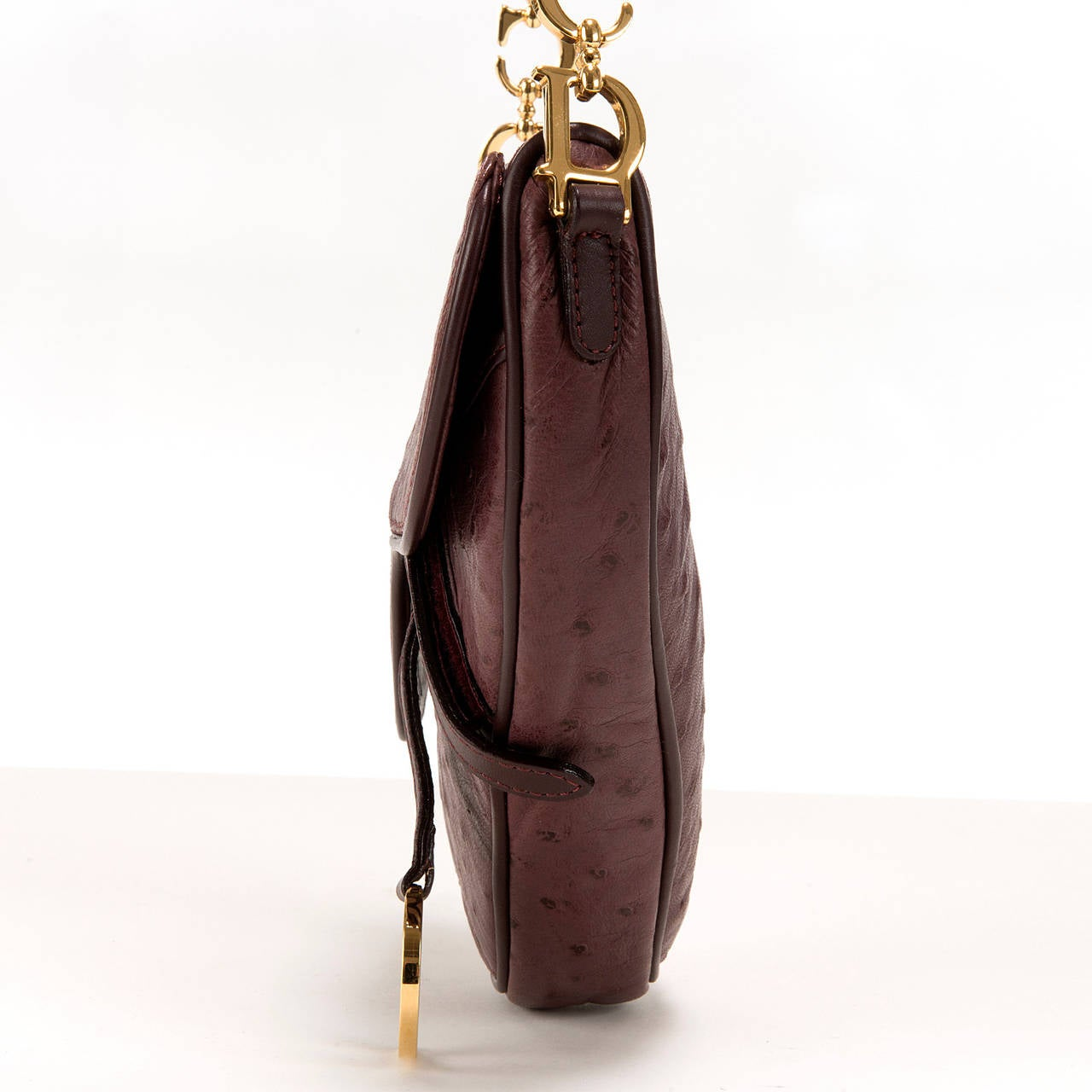 WOW ! Christian Dior Aubergine 'Saddle' Bag in Ostrich with Gold Logo Hardware 4