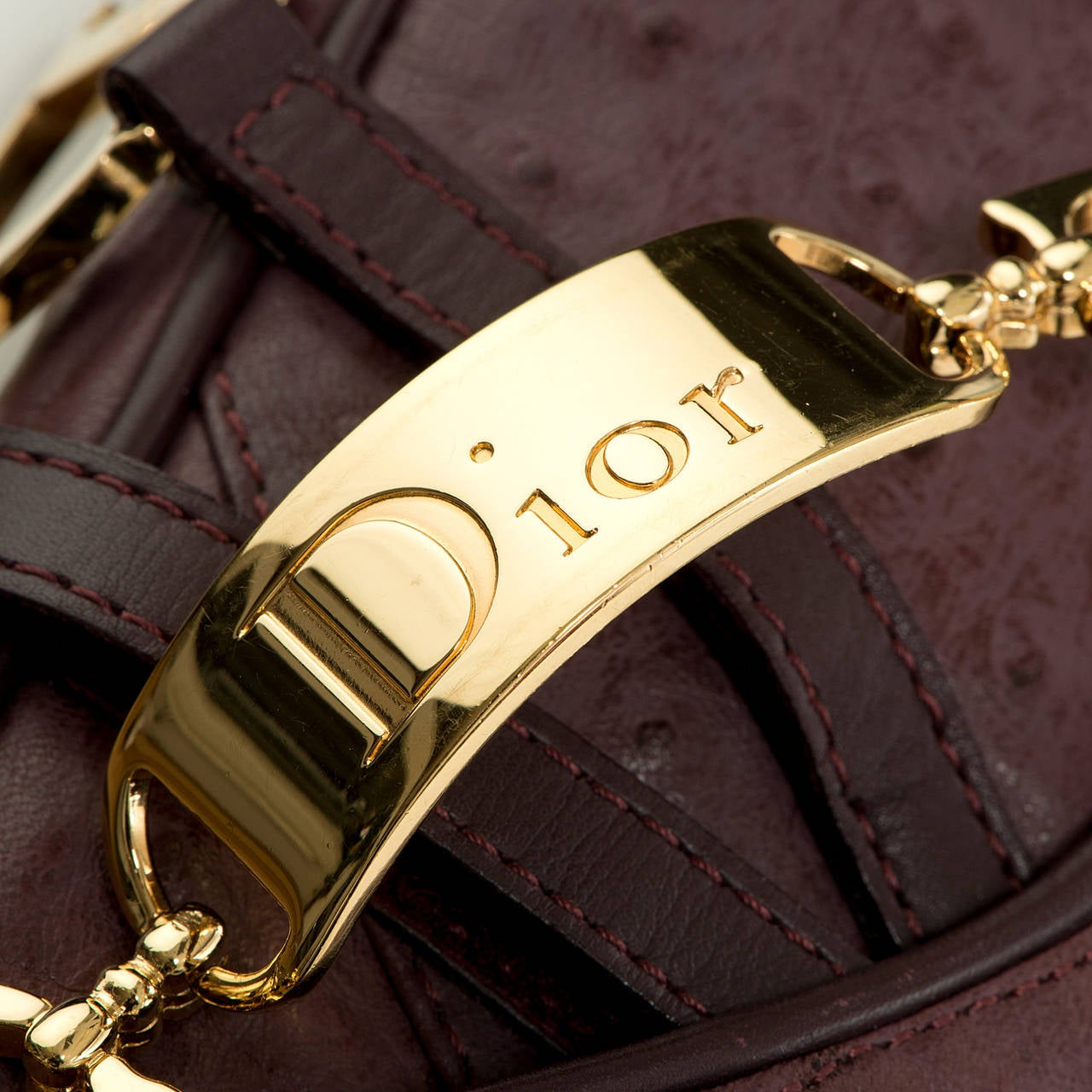 WOW ! Christian Dior Aubergine 'Saddle' Bag in Ostrich with Gold Logo Hardware 5