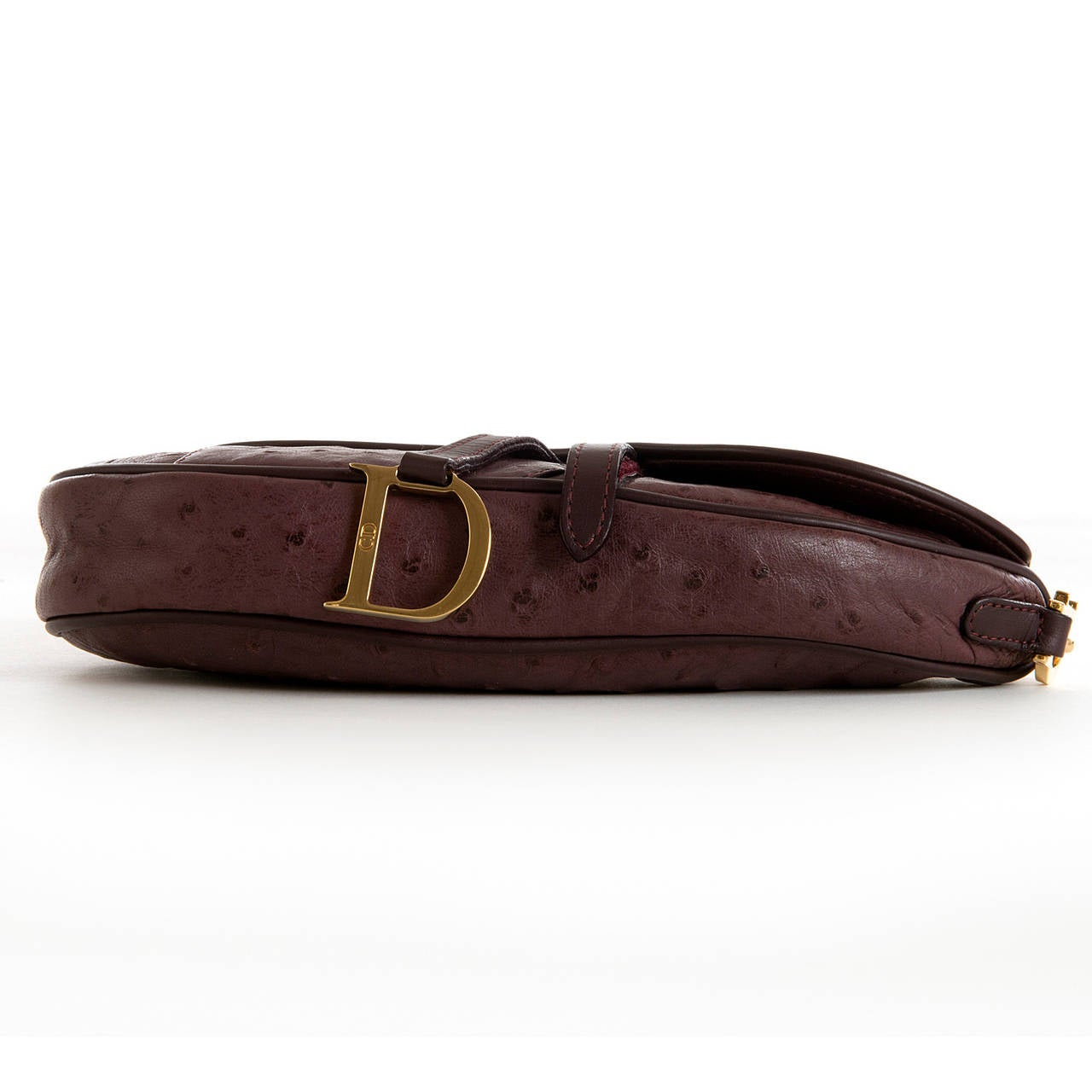 WOW ! Christian Dior Aubergine 'Saddle' Bag in Ostrich with Gold Logo Hardware 6