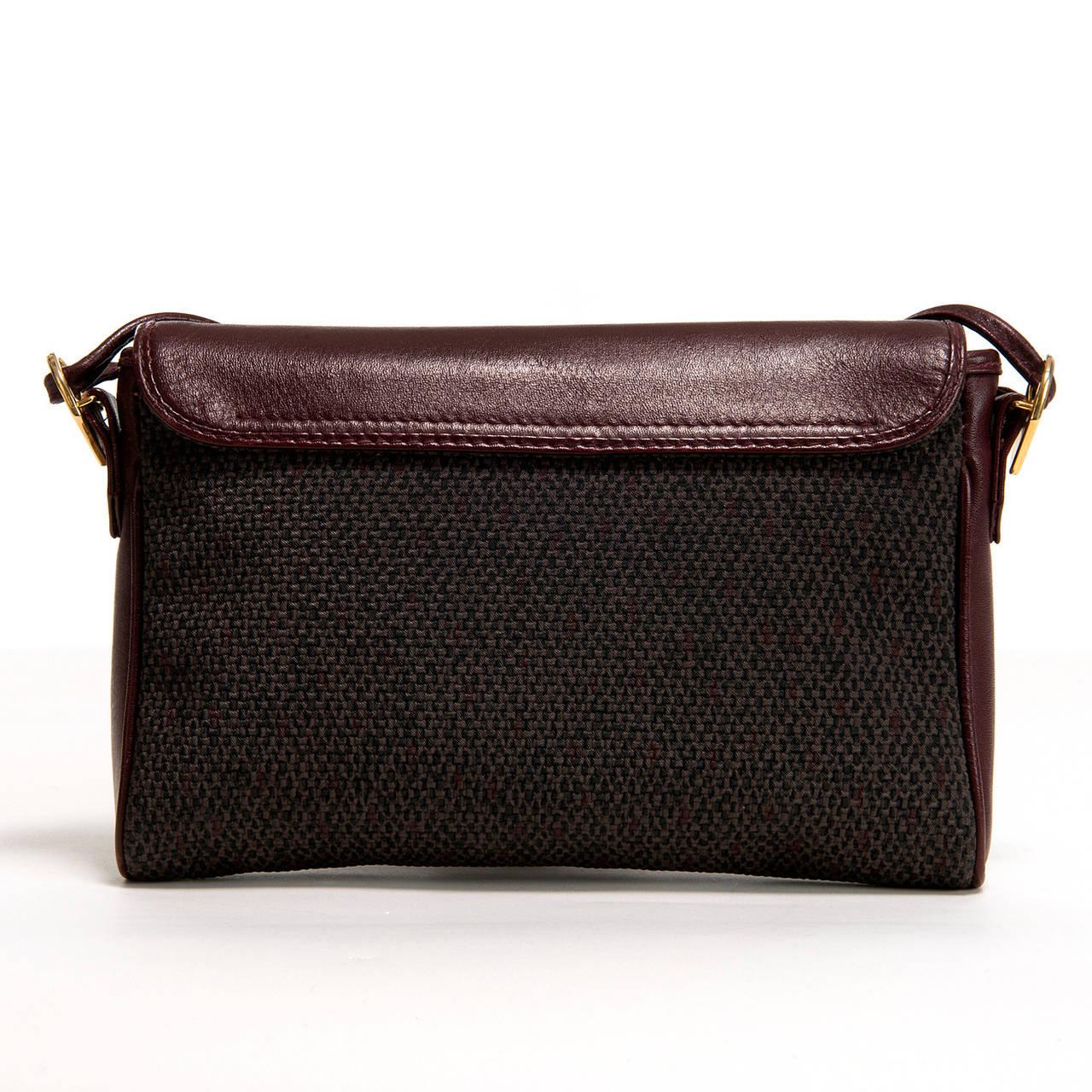 Yves Saint Laurent Burgundy/Grey Toile Cross-Body Bag 2