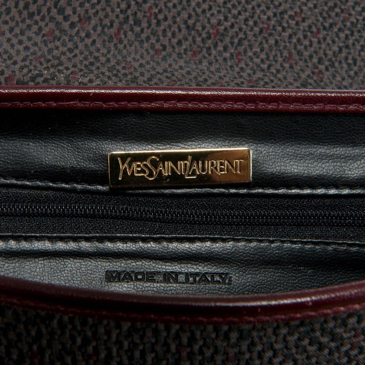 Yves Saint Laurent Burgundy/Grey Toile Cross-Body Bag 3
