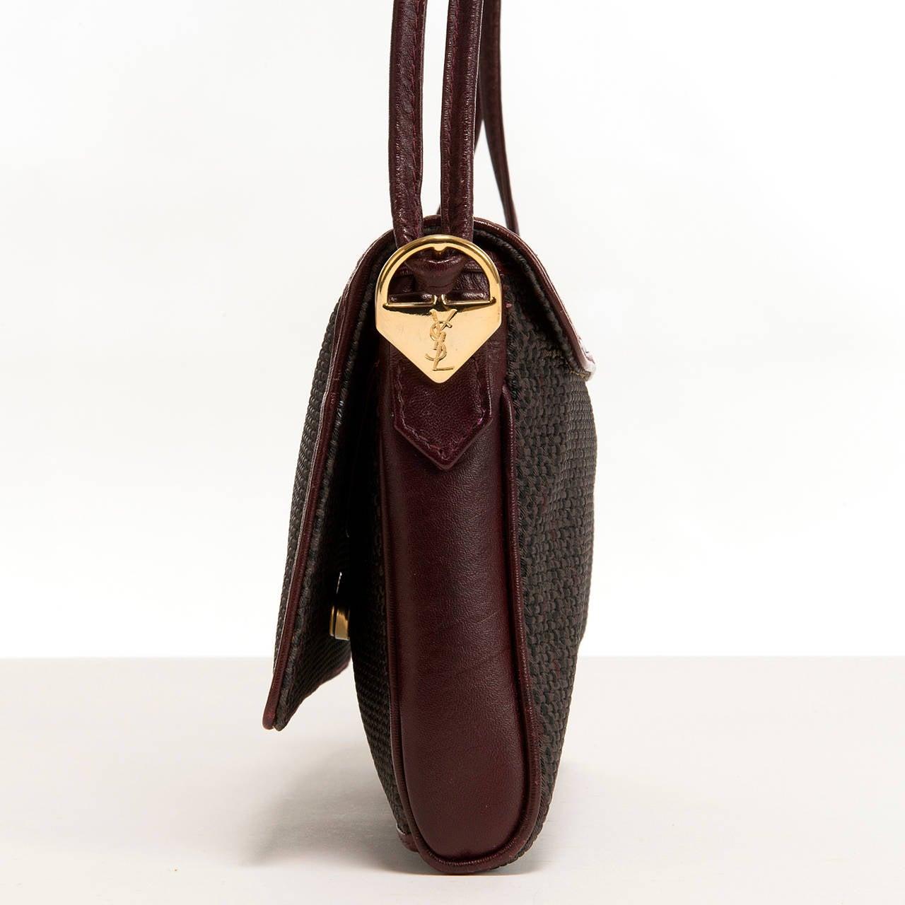 Yves Saint Laurent Burgundy/Grey Toile Cross-Body Bag 4