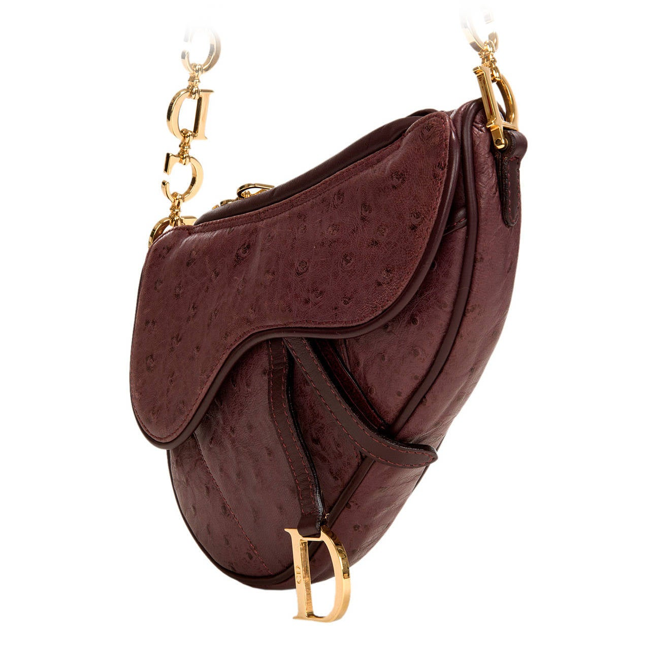 WOW ! Christian Dior Aubergine 'Saddle' Bag in Ostrich with Gold Logo Hardware 1