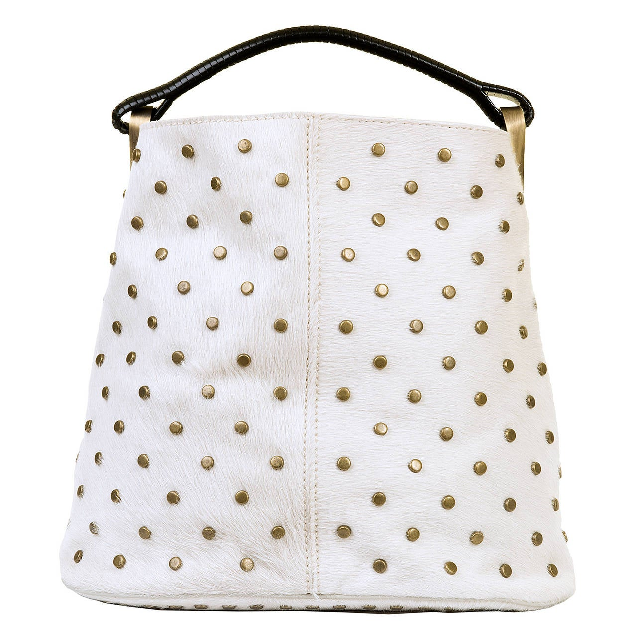 WOW ! Kenzo White-Fur Jumbo Tote, with Bronze Studwork - 'Ayoub' Collection 2