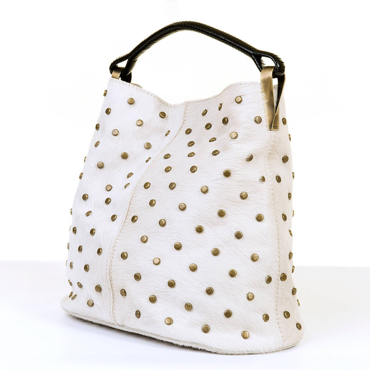 WOW ! Kenzo White-Fur Jumbo Tote, with Bronze Studwork - 'Ayoub' Collection 3