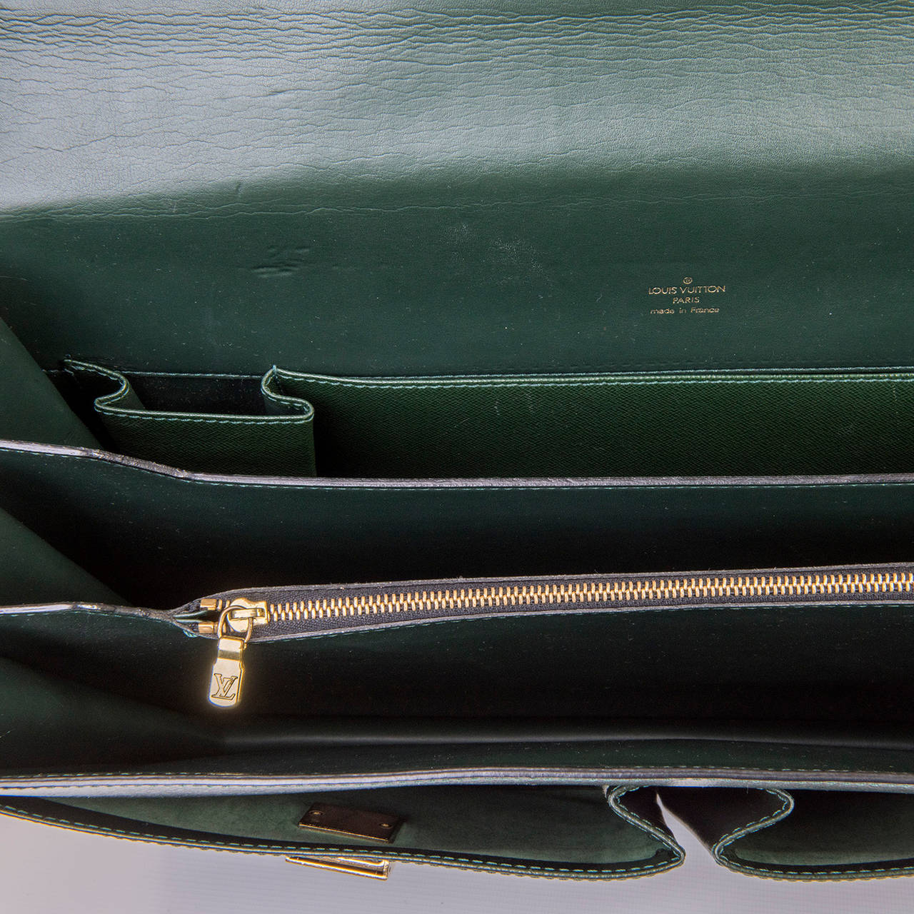MAN GIFT! Pristine Louis Vuitton 'Tobol' Attache Case in green Taiga Leather 4