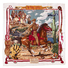 Rare Hermes Silk Scarf 'Pony Express' By Oliver