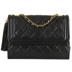RARE Chanel 23cm Black Quilted Lambskin 'Pompom' Flap Bag with Gold Hardware