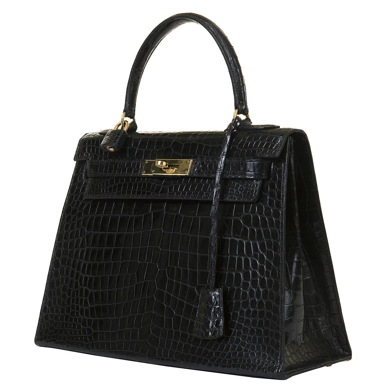 hermes birkin knockoff - SO SO RARE Hermes Vintage Black Crocodile Kelly Bag with Goldtone ...