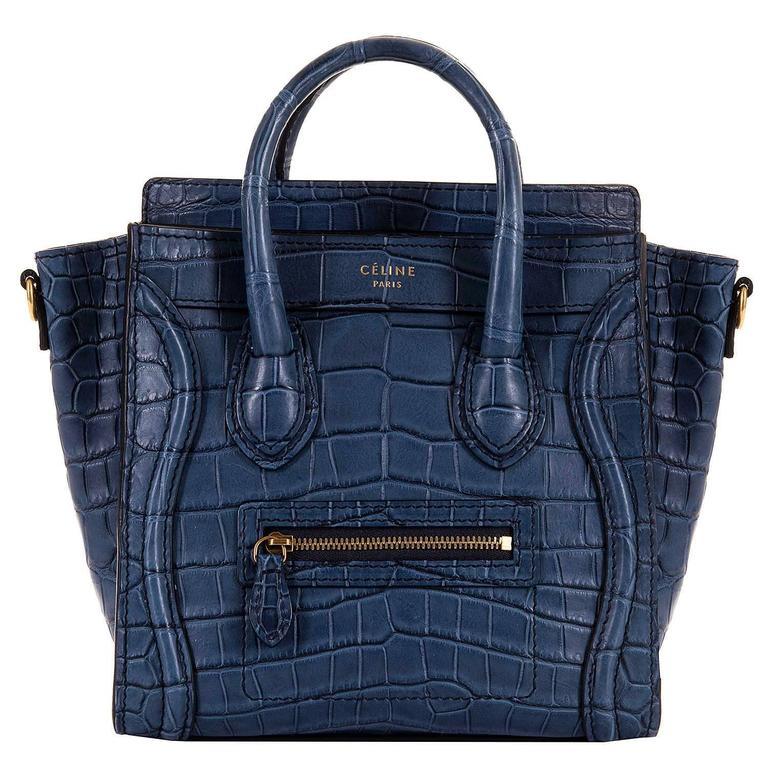 WOW! New Celine 'Prussian Blue' Crocodile 'Nanos' Hand/Shoulder Bag with GHW 1
