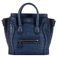 WOW! New Celine 'Prussian Blue' Crocodile 'Nanos' Hand/Shoulder Bag with GHW