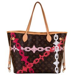Limited Edition Louis Vuitton Logo 'Never-full' Bag with Natural Leather Trim
