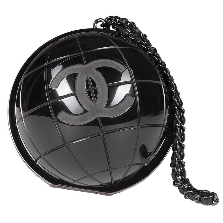 VERY RARE Chanel Limited Edition Runway 'CC' Logo Black 'Globe' Minaudière 1