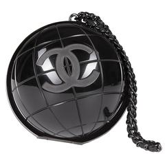 VERY RARE Chanel Limited Edition Runway 'CC' Logo Black 'Globe' Minaudière