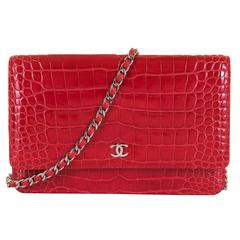 SO SO RARE Chanel Imperial Red Alligator WOC/Bag with Silver Palladium Hardware