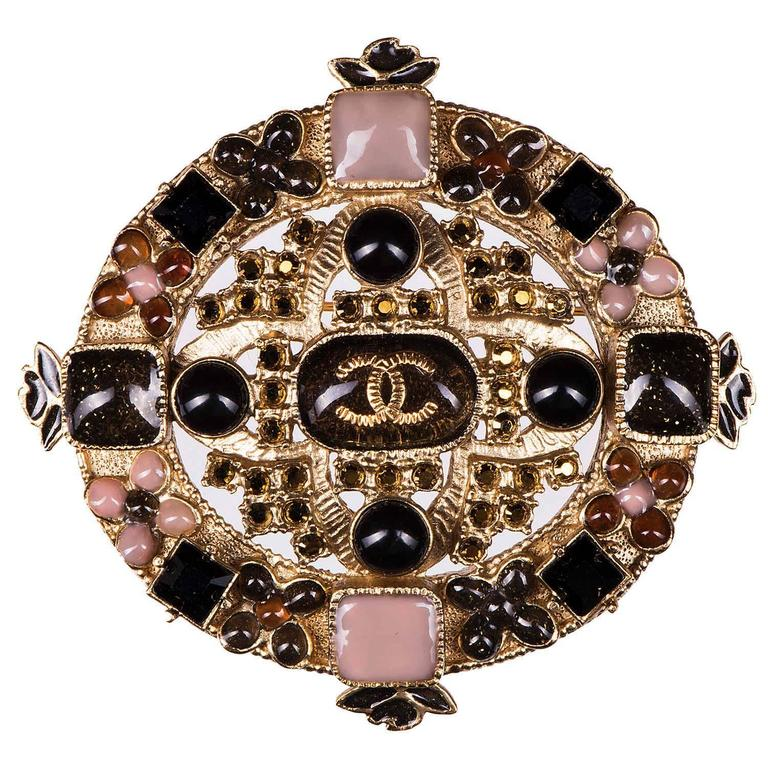 Rare Chanel Brooch with Pink, Yellow, Black & Amber Stones  1