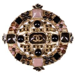 Rare Chanel Brooch with Pink, Yellow, Black & Amber Stones