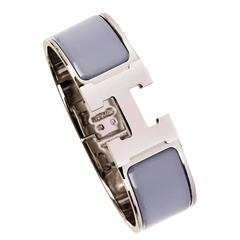 Exquisite Hermes Large 'Clic-Clac' Silver Palladium & Enamel Bracelet