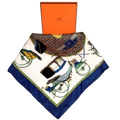 Pristine Hermes Silk Scarf 'Les Voitures a Transformation' by F. de la Perriere