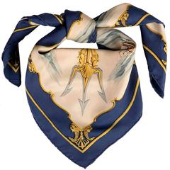"A Very Rare Vintage Hermes Silk Scarf ""La Marine en Bois' by Hugo Grygkar"