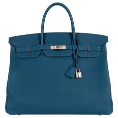 As New Hermes 40cm Cobalt Blue Togo leather Birkin with Palladium Hardware