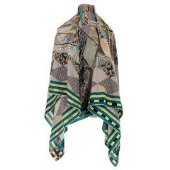 TRES CHIC Hermes 140cm Silk and Cashmere Shawl 'Patchwork Horses' by Nigel Peake