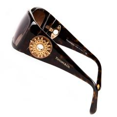 WOW Rare Tiffany 'Sunburst' Tortoiseshell Sunglasses with Swarovski Jewel inlays