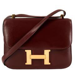 Pristine Classic Hermes 23cm Rouge H Constance Shoulder Bag with Gold Hardware