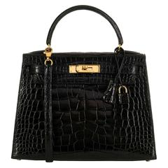 WOW Pristine Hermes 28cm Shiny Black Crocodile Alligator Kelly Bag with Gold HW