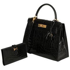 SO SO RARE Hermes 28cm Black Crocodile Alligator Kelly Bag & 'H' Bearn Wallet
