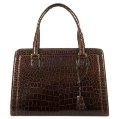 So So Rare Vintage Hermes 30cm Cognac 'Sac Pullman' Shiny Crocodile Handbag