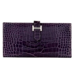 So So Rare Pristine Hermes 'Amethyst' Shiny Crocodile Alligator Bearn Wallet